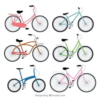 Coleção de bicicleta colorida em design plano