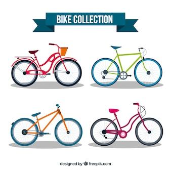 Coleção de bicicletas com estilo colorido