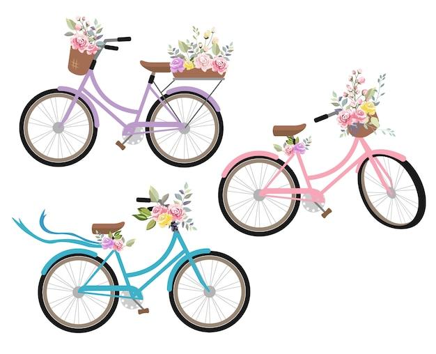 Coleção de bicicletas vintage vector