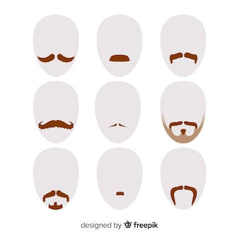 Coleção de bigode de conscientização de movember em design plano