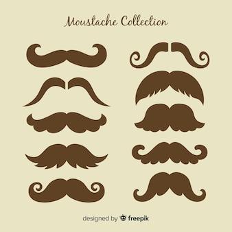 Coleção de bigode elegante com estilo vintage