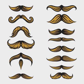 Coleção de bigode movember com estilo de desenho a mão