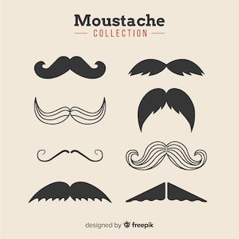 Coleção de bigode movember em diferentes formas em design plano