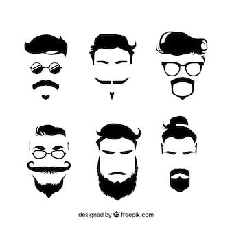 Coleção de bigodes de hipster desenhada a mão