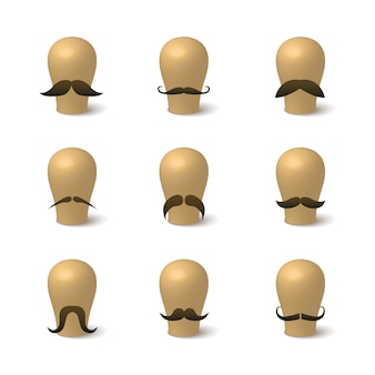 Coleção de bigodes hipster em blocos de chapéu