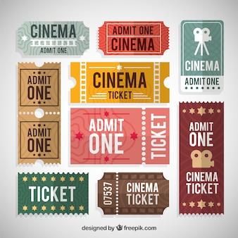 Coleção de bilhete de cinema colorido em design plano