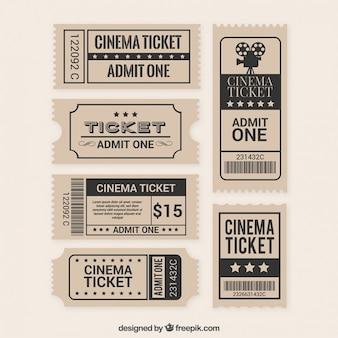 Coleção de bilhete de filme plano