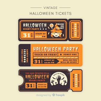 Coleção de bilhetes de festa de halloween com design vintage