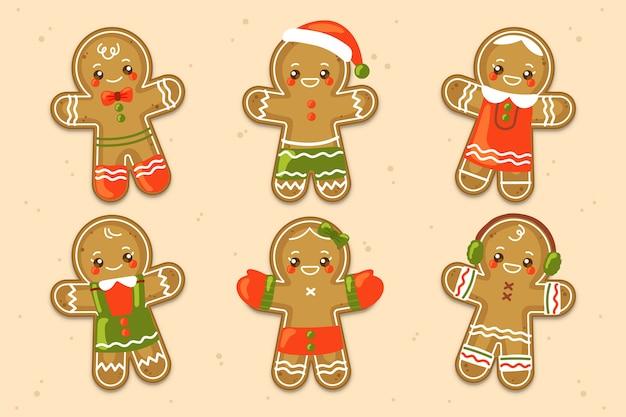 Coleção de biscoito de gengibre de mão desenhada