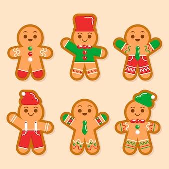 Coleção de biscoito de gengibre em design plano