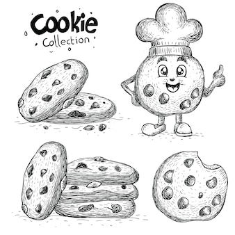 Coleção de biscoito desenhada à mão