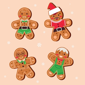 Coleção de biscoitos de gengibre de design plano