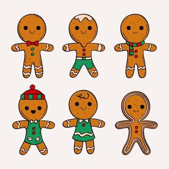 Coleção de biscoitos de gengibre de mão desenhada