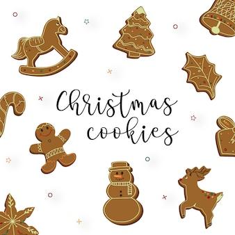 Coleção de biscoitos de gengibre de natal