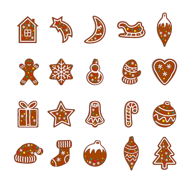 Coleção de biscoitos de gengibre de natal.