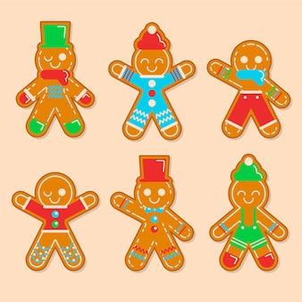 Coleção de biscoitos de gengibre em design plano