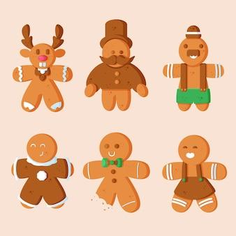 Coleção de biscoitos de homem-biscoito de design plano