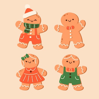 Coleção de biscoitos de homem-biscoito de gengibre desenhada à mão