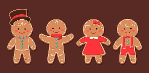 Coleção de biscoitos de homem-biscoito desenhado à mão