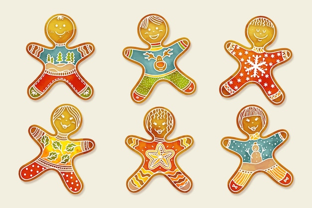 Coleção de biscoitos de homem-biscoito em aquarela