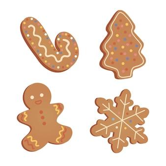 Coleção de biscoitos de natal com bonecos de gengibre. ilustração desenhada à mão