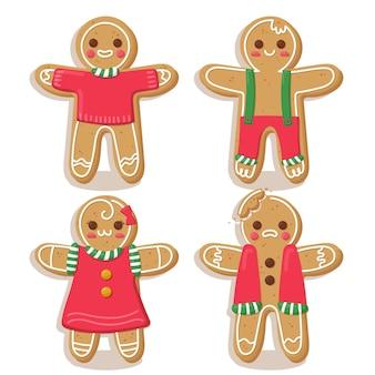 Coleção de biscoitos do homem-biscoito em design plano