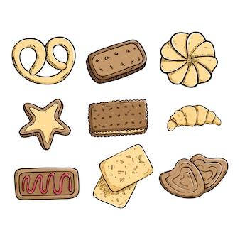 Coleção de biscoitos saborosos com mão colorido desenhado ou estilo doodle