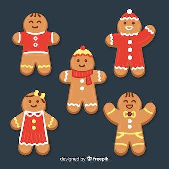 Coleção de biscoitos sorridente de gengibre