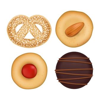 Coleção de biscoitos sortidos plana leigos