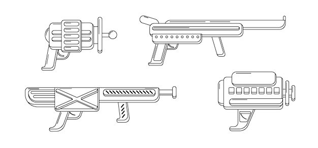 Coleção de blasters de arte vetorial linha conjunto de arma de brinquedo para colorir. design de arma futurista