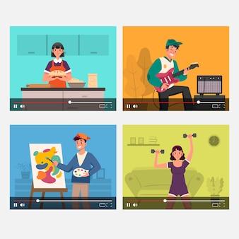 Coleção de blogueiros na tela