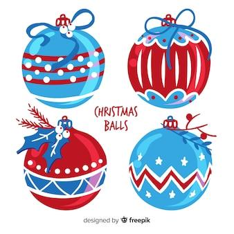 Coleção de bola de natal colorido com design plano