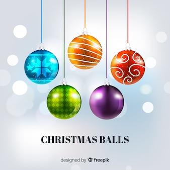 Coleção de bola de natal elegante com design realista