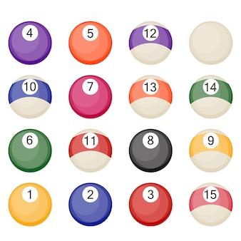 Coleção de bolas de bilhar isolada no fundo branco
