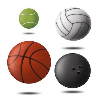 Coleção de bolas de esporte 3d