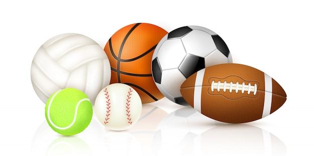 Coleção de bolas de esporte