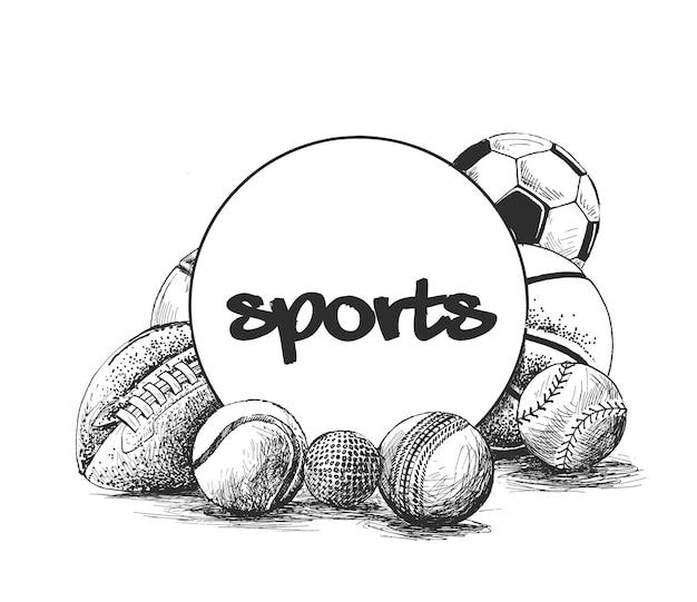 Coleção de bolas de esportes com fundo desenhado à mão.
