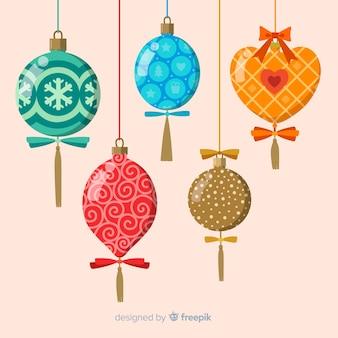 Coleção de bolas de natal de design plano