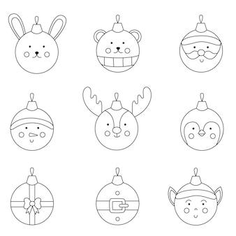 Coleção de bolas de natal de vetor preto e branco.