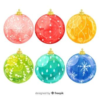 Coleção de bolas de natal em aquarela