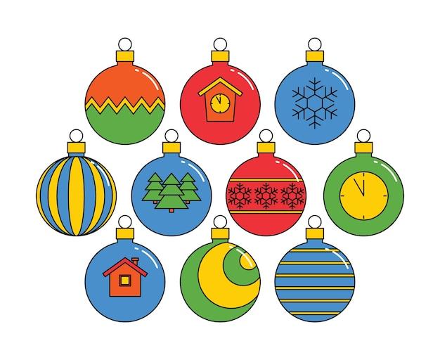 Coleção de bolas de natal, lineares coloridas isoladas em um fundo branco. .
