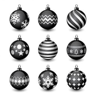 Coleção de bolas de natal pretas