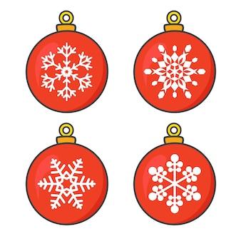 Coleção de bolas de natal vermelhas com flocos de neve