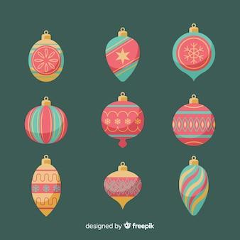 Coleção de bolas de natal vintage