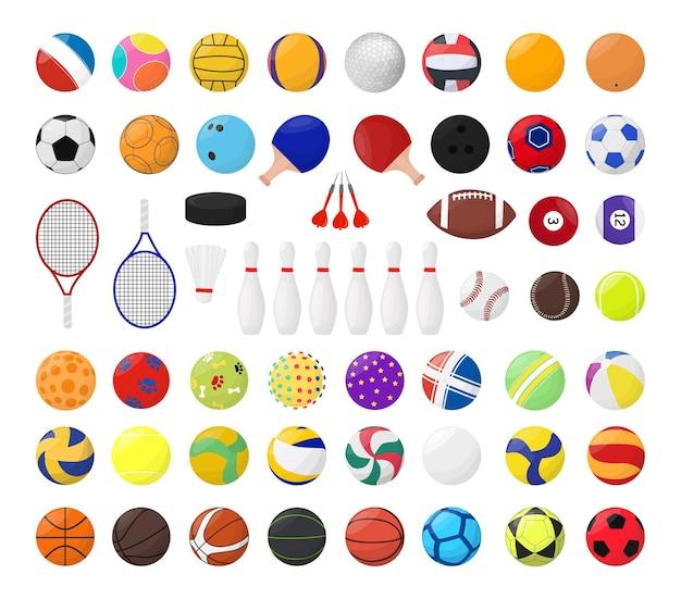 Coleção de bolas e equipamentos esportivos