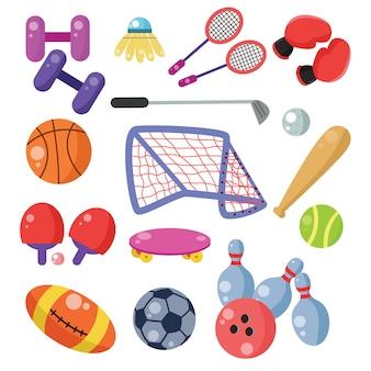 Coleção de bolas e suprimentos de esporte