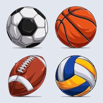 Coleção de bolas esportivas, bola de futebol e vôlei