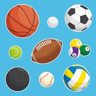 Coleção de bolas esportivas