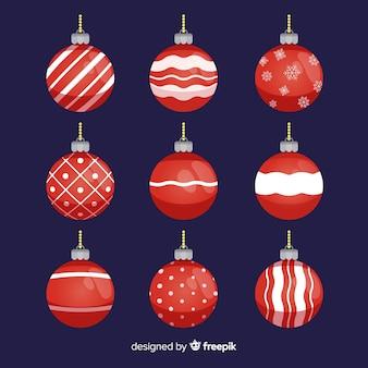 Coleção de bolas planas de natal