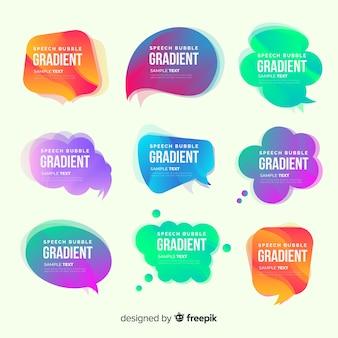 Coleção de bolha colorida discurso gradiente